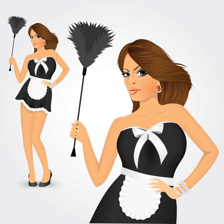feather duster: cute young maid in classic maid dress costume holding a feather duster isolated on white background