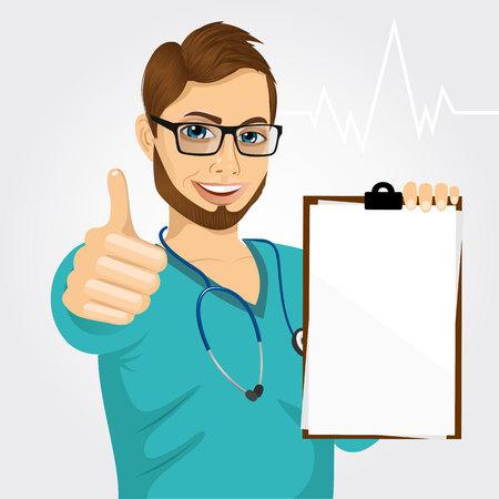 knappe mannelijke verpleegkundige of arts met een bril die een blanco medische klembord en geven thumbs up op witte achtergrond