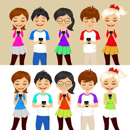 socializando: conjunto de diferentes j�venes que utilizan los tel�fonos m�viles de socializaci�n en internet Vectores