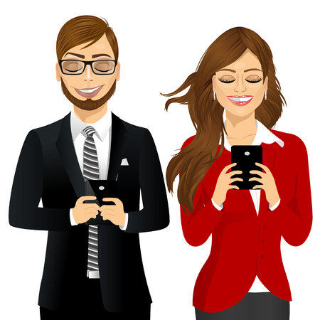using smartphone: portrait of beautiful business woman and man using mobile phones socializing on internet isolated on white backdround
