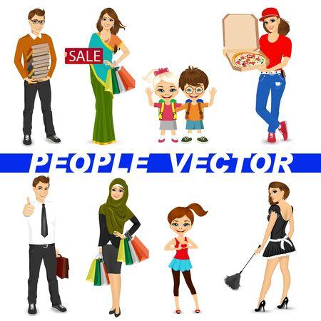 conjunto de diversos personajes personas aisladas sobre fondo blanco. Diseño vectorial