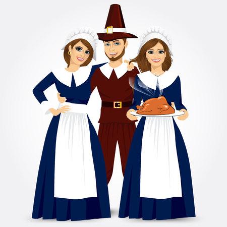 vector illustration for thanksgiving of the pilgrims isolated on white background Ilustrace