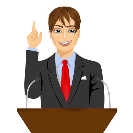 senator: orator standing behind a podium with microphones. Speaker makes a report to the public. Presentation and performance before an audience. Oratory, lecturer, business seminar