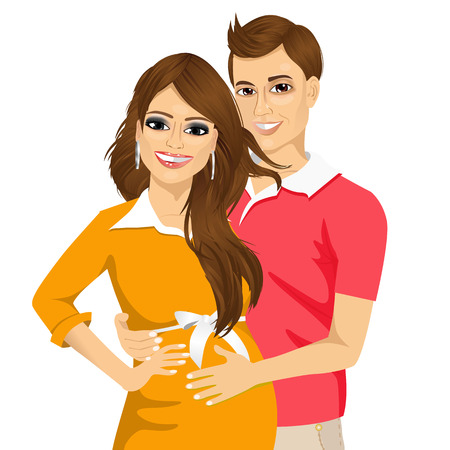 portrait of young husband touching the belly of his pregnant wife isolated on white background