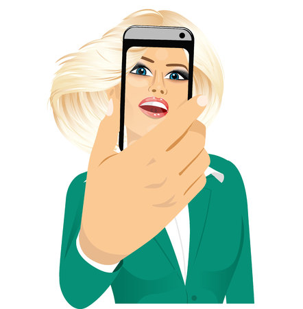 woman smartphone: portrait of happy blonde woman taking a selfie using her smartphone isolated over white background