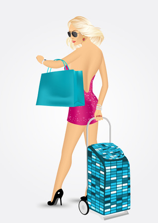 short dress: blonde woman in short dress with sunglasses holding shopping bag and carrying a trolley suitcase, checking the time, isolated on white background