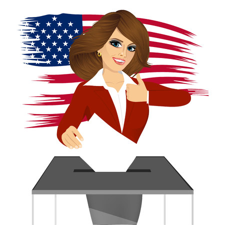 vote box: portrait of businesswoman putting ballot in vote box and giving thumbs up on white background