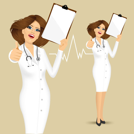 blanc: female doctor with thumbs up gesture holding clipboard with blanc sheet isolated Vectores