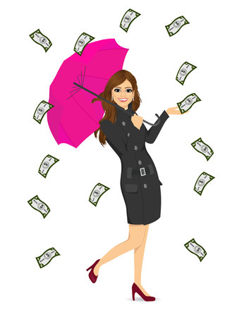 woman holding money: full body portrait of brunette woman holding big purple umbrella happy seeing raining money bills Illustration