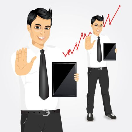 stop gesture: portrait of young businessman with tablet screen showing stop gesture against graph Illustration