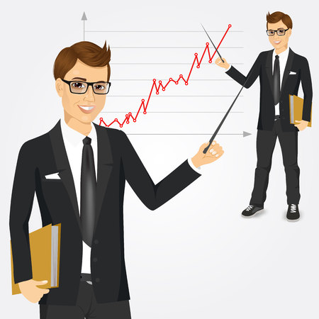 presentation people: portrait of young businessman presenting with a pointer and board