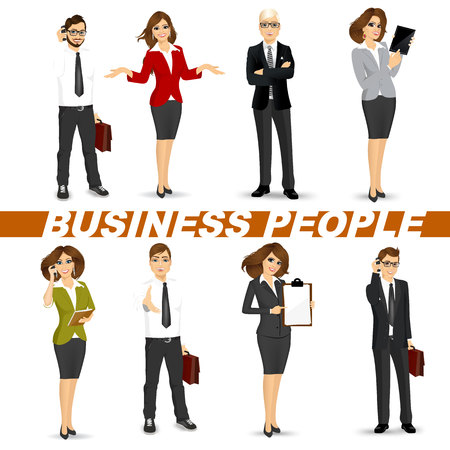 happy business man: set of diverse business people isolated on white background
