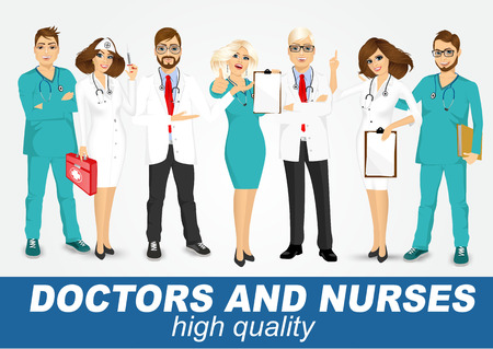doc: group of doctors and nurses set isolated over white background