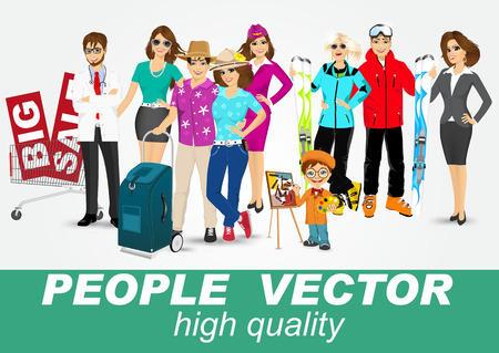 doctor tablet: set of diverse people characters isolated on white background. Vector design Illustration