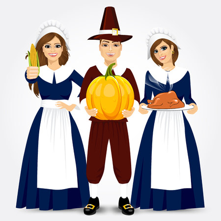 period costume: vector illustration for thanksgiving of the pilgrims holding turkey, corn and pumpkin isolated on white background