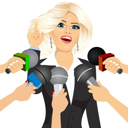 answering: female blonde politician or businesswoman answering press questions in front of journalists holding microphones Illustration