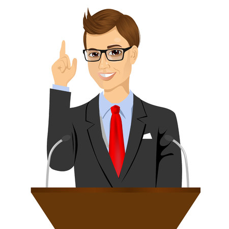 orator: orator standing behind a podium with microphones. Speaker makes a report to the public. Presentation and performance before an audience. Oratory, lecturer, business seminar
