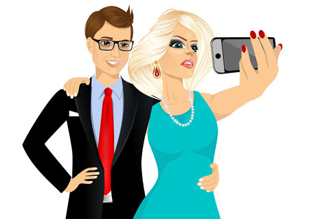 portrait of happy blonde woman and young man in business suit taking a selfie using her smartphone isolated over white background Illustration
