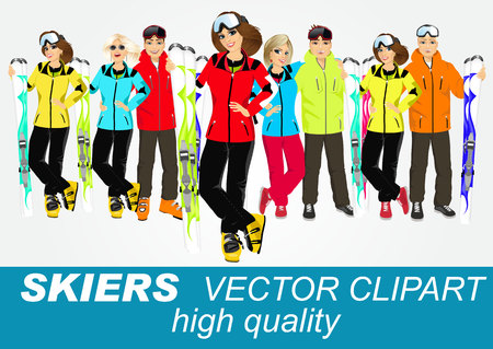 skiers: portrait of group of skiers standing with mountain skis isolated over white background Illustration