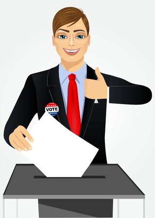 voter registration: portrait of businessman putting ballot in vote box and giving thumbs up on white background
