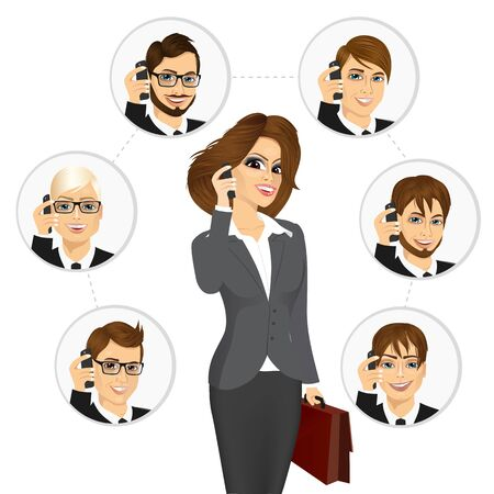young business man: concept illustration of businesswoman calling business contacts on a working day isolated on white background