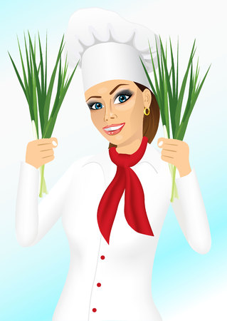 onion isolated: portrait of smiling female chef holding green onion isolated on blue background