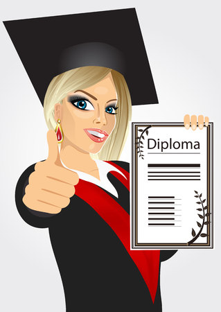 portrait of happy blonde graduating student girl in an academic gown showing diploma and giving thumbs up isolated over white background Illustration