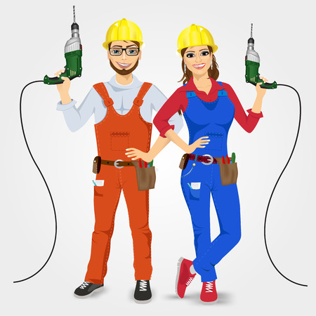 portrait of handyman and handywoman holding green drills isolated on white background