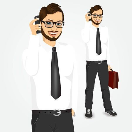 white shirt: portrait of modern hipster businessman with glasses and briefcase talking on the phone isolated over white background Illustration