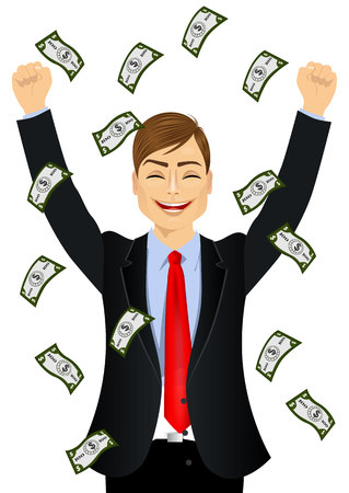 raining: portrait of businessman happy seeing raining money bills Illustration