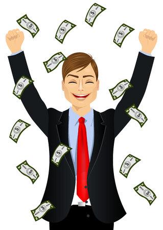 seeing: portrait of businessman happy seeing raining money bills Illustration