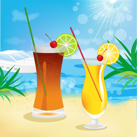 summer holidays: seaside view with tropical cocktails. Summer holidays concept background. Vector.