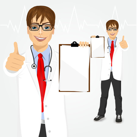 young male doctor: happy smiling young male doctor holding a clipboard and giving thumbs up isolated over white background Illustration