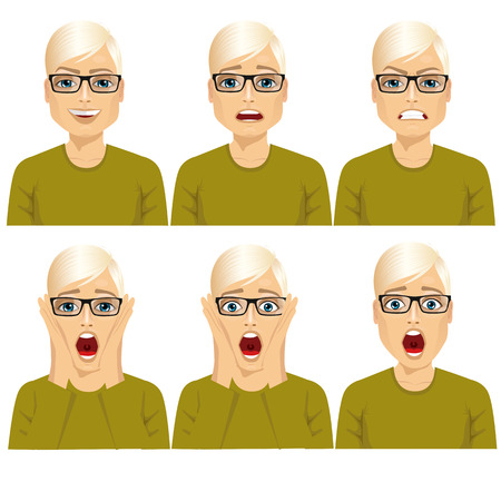 face expressions: handsome young blond man with glasses on six different face expressions set