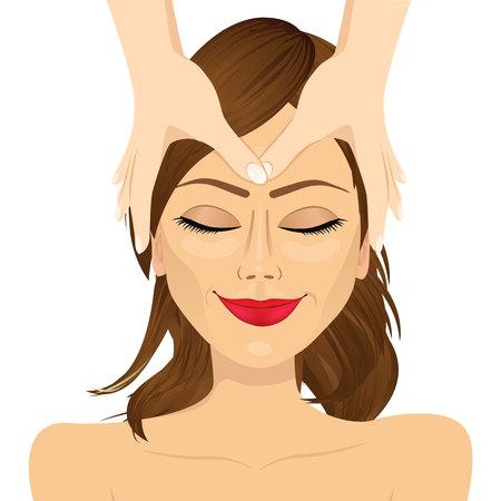 편안한 얼굴 마사지 치료를 즐기는 젊은 갈색 머리 여자 흰색 배경에 고립