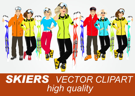 couple having fun: portrait of group of skiers standing with mountain skis isolated over white background Illustration
