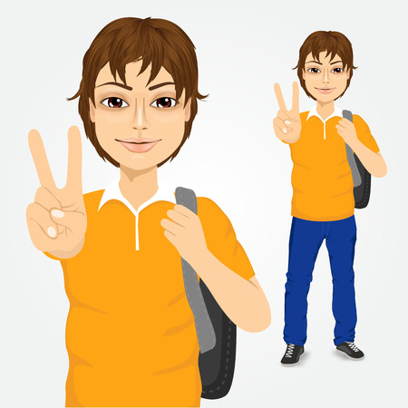 making a face: portrait of handsome student guy with backpack making victory sign isolated on white background Illustration