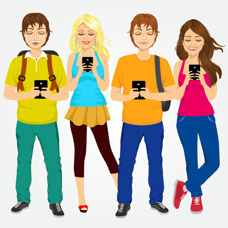 group of different young students using mobile phones socializing on internet