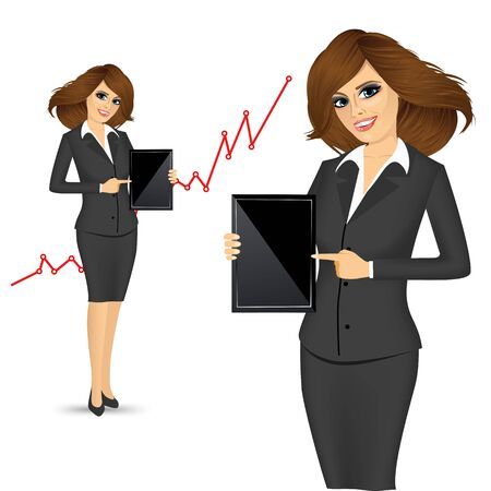 woman tablet: portrait of business woman holding a tablet computer