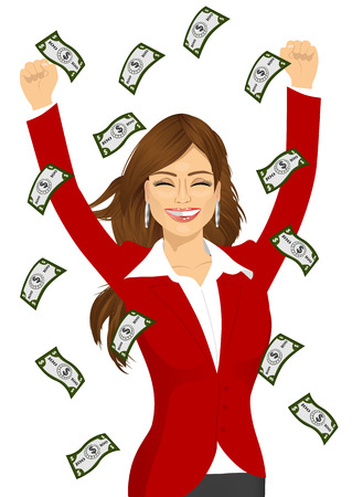 raining: portrait of brunette woman happy seeing raining money bills Illustration