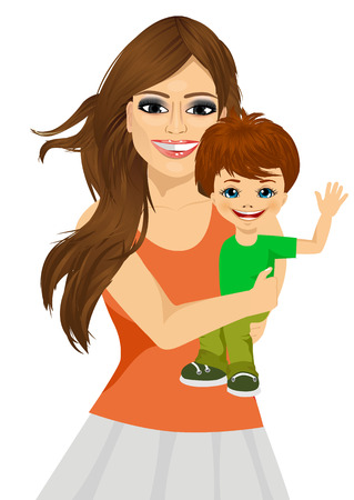 indian family: friendly young mother holding and hugging her cute little baby son smiling Illustration