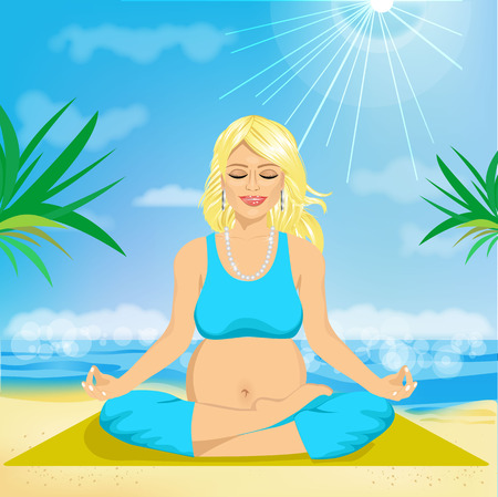 yoga outside: portrait of a beautiful young pregnant woman sitting in yoga pose at the beach
