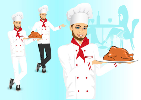 roasted turkey: portrait of cheerful hipster male chef holding a tray with christmas roasted turkey over blue background Illustration