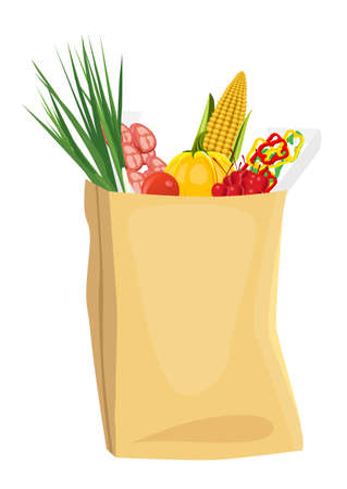grocery bag: assorted fruits and vegetables in brown grocery bag isolated over white background Illustration