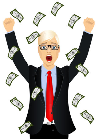 raining: portrait of blond businessman with glasses surprised seeing raining money bills