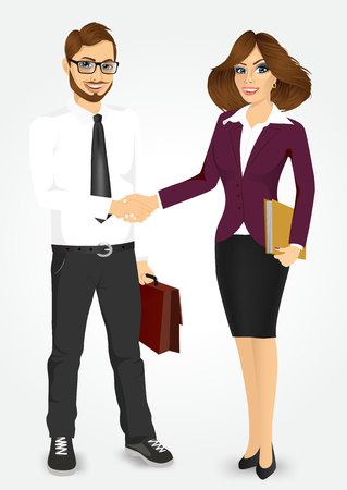 happy business man: businessman with briefcase and businesswoman with paper folder shaking hands happy standing negotiating