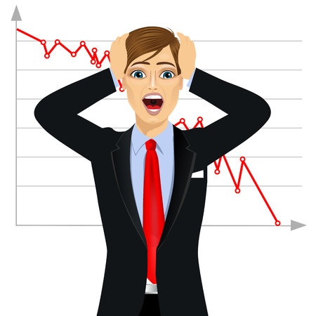 mouth open: businessman screaming mouth open against line chart, hold head hand, wear business suit, isolated on white background, concept face emotion