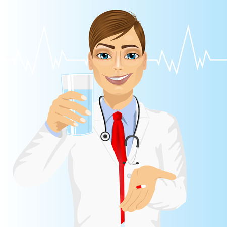 handsome male: young handsome male doctor offering a pill with glass of water