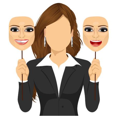 hipocresía: mujer sin rostro sosteniendo una máscara feliz y enojado en sus manos. Concepto de la hipocresía