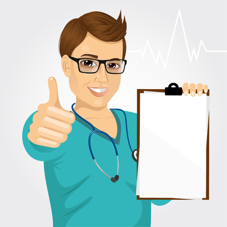 medical clipboard: handsome male nurse or doctor with glasses holding a blank medical clipboard and giving thumbs up on white background